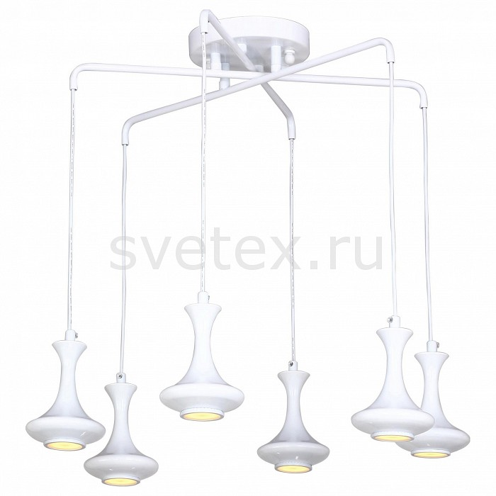 Подвесная люстра FavouriteМеталлические плафоны<br>Артикул - FV_1722-6P,Бренд - Favourite (Германия),Коллекция - Leo,Гарантия, месяцы - 24,Высота, мм - 780,Диаметр, мм - 600,Тип лампы - светодиодная [LED],Общее кол-во ламп - 6,Напряжение питания лампы, В - 12,Максимальная мощность лампы, Вт - 5,Цвет лампы - белый теплый,Лампы в комплекте - светодиодные [LED] GU5.3,Цвет плафонов и подвесок - белый,Тип поверхности плафонов - глянцевый,Материал плафонов и подвесок - металл,Цвет арматуры - белый,Тип поверхности арматуры - глянцевый,Материал арматуры - металл,Количество плафонов - 6,Возможность подлючения диммера - нельзя,Компоненты, входящие в комплект - трансформатор 12В,Форма и тип колбы - полусферическая с рефлектором,Тип цоколя лампы - GU5.3,Цветовая температура, K - 3000 K,Экономичнее лампы накаливания - в 10 раз,Класс электробезопасности - I,Напряжение питания, В - 220,Общая мощность, Вт - 30,Степень пылевлагозащиты, IP - 20,Диапазон рабочих температур - комнатная температура,Дополнительные параметры - способ крепления светильника к потолку - на монтажной пластине<br>