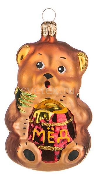 Елочная игрушка АРТИ-МЕлочные игрушки<br>Артикул - art_860-350,Бренд - АРТИ-М (Россия),Коллекция - Мишка с мёдом,Высота, мм - 100,Цвет - коричневый, красный,Материал - стекло<br>