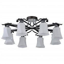 Потолочная люстра IDLampБолее 6 ламп<br>Артикул - ID_849_8PF-Dark,Бренд - IDLamp (Италия),Коллекция - 849,Гарантия, месяцы - 24,Высота, мм - 270,Диаметр, мм - 650,Тип лампы - компактная люминесцентная [КЛЛ] ИЛИнакаливания ИЛИсветодиодная [LED],Общее кол-во ламп - 8,Напряжение питания лампы, В - 220,Максимальная мощность лампы, Вт - 40,Лампы в комплекте - отсутствуют,Цвет плафонов и подвесок - белый,Тип поверхности плафонов - матовый, рельефный,Материал плафонов и подвесок - стекло,Цвет арматуры - золото, хром, черный,Тип поверхности арматуры - матовый,Материал арматуры - металл,Возможность подлючения диммера - можно, если установить лампу накаливания,Тип цоколя лампы - E14,Общая мощность, Вт - 320,Степень пылевлагозащиты, IP - 20,Диапазон рабочих температур - комнатная температура<br>