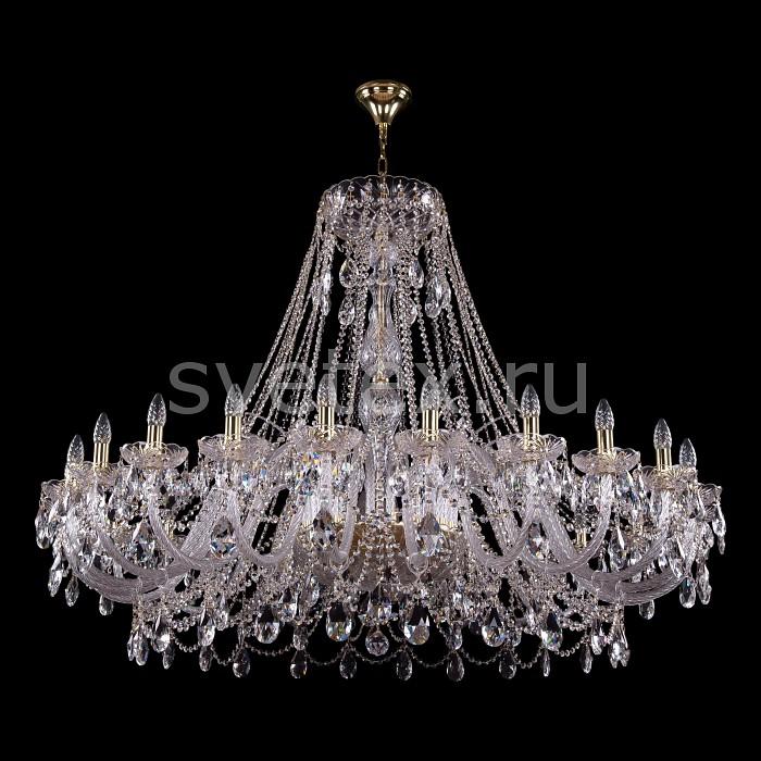 Подвесная люстра Bohemia Ivele CrystalБолее 6 ламп<br>Артикул - BI_1411_24_530_115_G,Бренд - Bohemia Ivele Crystal (Чехия),Коллекция - 1411,Гарантия, месяцы - 24,Высота, мм - 1150,Диаметр, мм - 1500,Размер упаковки, мм - 710x710x350,Тип лампы - компактная люминесцентная [КЛЛ] ИЛИнакаливания ИЛИсветодиодная [LED],Общее кол-во ламп - 24,Напряжение питания лампы, В - 220,Максимальная мощность лампы, Вт - 40,Лампы в комплекте - отсутствуют,Цвет плафонов и подвесок - неокрашенный,Тип поверхности плафонов - прозрачный,Материал плафонов и подвесок - хрусталь,Цвет арматуры - золото, неокрашенный,Тип поверхности арматуры - глянцевый, прозрачный, рельефный,Материал арматуры - металл, стекло,Возможность подлючения диммера - можно, если установить лампу накаливания,Форма и тип колбы - свеча ИЛИ свеча на ветру,Тип цоколя лампы - E14,Класс электробезопасности - I,Общая мощность, Вт - 960,Степень пылевлагозащиты, IP - 20,Диапазон рабочих температур - комнатная температура,Дополнительные параметры - способ крепления светильника к потолку - на крюке, указана высота светильника без подвеса<br>