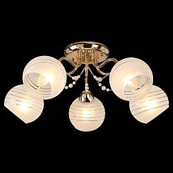 Потолочная люстра Оптима5 или 6 ламп<br>Артикул - EV_76631,Бренд - Оптима (Китай),Коллекция - Мелисса,Гарантия, месяцы - 24,Высота, мм - 220,Диаметр, мм - 600,Тип лампы - компактная люминесцентная [КЛЛ] ИЛИнакаливания ИЛИсветодиодная [LED],Общее кол-во ламп - 5,Напряжение питания лампы, В - 220,Максимальная мощность лампы, Вт - 60,Лампы в комплекте - отсутствуют,Цвет плафонов и подвесок - белый полосатый,Тип поверхности плафонов - матовый,Материал плафонов и подвесок - стекло,Цвет арматуры - золото,Тип поверхности арматуры - глянцевый,Материал арматуры - металл,Возможность подлючения диммера - можно, если установить лампу накаливания,Тип цоколя лампы - E27,Класс электробезопасности - I,Общая мощность, Вт - 300,Степень пылевлагозащиты, IP - 20,Диапазон рабочих температур - комнатная температура,Дополнительные параметры - способ крепления светильника к потолку - на монтажной пластине<br>