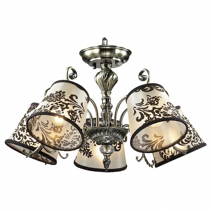 Подвесная люстра Odeon LightСветильники<br>Артикул - OD_2687_5,Бренд - Odeon Light (Италия),Коллекция - Pari,Гарантия, месяцы - 24,Время изготовления, дней - 1,Высота, мм - 370,Диаметр, мм - 590,Тип лампы - компактная люминесцентная [КЛЛ] ИЛИнакаливания ИЛИсветодиодная [LED],Общее кол-во ламп - 5,Напряжение питания лампы, В - 220,Максимальная мощность лампы, Вт - 60,Лампы в комплекте - отсутствуют,Цвет плафонов и подвесок - белый с коричневым рисунком,Тип поверхности плафонов - матовый,Материал плафонов и подвесок - текстиль,Цвет арматуры - бронза, неокрашенный,Тип поверхности арматуры - глянцевый, прозрачный,Материал арматуры - металл, стекло,Количество плафонов - 5,Возможность подлючения диммера - можно, если установить лампу накаливания,Тип цоколя лампы - E14,Класс электробезопасности - I,Общая мощность, Вт - 300,Степень пылевлагозащиты, IP - 20,Диапазон рабочих температур - комнатная температура,Дополнительные параметры - указана высота светильника без подвеса<br>