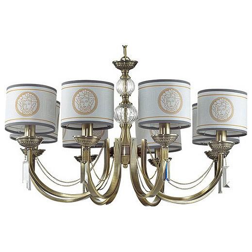 Подвесная люстра Odeon LightСветильники<br>Артикул - OD_3268_8,Бренд - Odeon Light (Италия),Коллекция - Talia,Гарантия, месяцы - 24,Высота, мм - 840-1070,Диаметр, мм - 760,Тип лампы - компактная люминесцентная [КЛЛ] ИЛИнакаливания ИЛИсветодиодная [LED],Общее кол-во ламп - 8,Напряжение питания лампы, В - 220,Максимальная мощность лампы, Вт - 60,Лампы в комплекте - отсутствуют,Цвет плафонов и подвесок - белый с серой каймой и коричневым рисунком, неокрашенный,Тип поверхности плафонов - матовый, прозрачный,Материал плафонов и подвесок - текстиль, хрусталь,Цвет арматуры - бронза,Тип поверхности арматуры - матовый,Материал арматуры - металл,Количество плафонов - 8,Возможность подлючения диммера - можно, если установить лампу накаливания,Тип цоколя лампы - E14,Класс электробезопасности - I,Общая мощность, Вт - 480,Степень пылевлагозащиты, IP - 20,Диапазон рабочих температур - комнатная температура,Дополнительные параметры - способ крепления светильника к потолку - на крюке, регулируется по высоте<br>