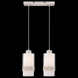 Подвесной светильник EurosvetСветодиодные<br>Артикул - EV_73895,Бренд - Eurosvet (Китай),Коллекция - 50021,Гарантия, месяцы - 24,Высота, мм - 800,Диаметр, мм - 100,Тип лампы - компактная люминесцентная [КЛЛ] ИЛИнакаливания ИЛИсветодиодная [LED],Общее кол-во ламп - 2,Напряжение питания лампы, В - 220,Максимальная мощность лампы, Вт - 60,Лампы в комплекте - отсутствуют,Цвет плафонов и подвесок - белый с орнаментом,Тип поверхности плафонов - матовый,Материал плафонов и подвесок - металл, стекло,Цвет арматуры - белый с золотой патиной,Тип поверхности арматуры - матовый, рельфный,Материал арматуры - металл,Возможность подлючения диммера - можно, если установить лампу накаливания,Тип цоколя лампы - E27,Класс электробезопасности - I,Общая мощность, Вт - 120,Степень пылевлагозащиты, IP - 20,Диапазон рабочих температур - комнатная температура,Дополнительные параметры - способ крепления светильника к потолку - на монтажной пластине, регулируется по высоте<br>