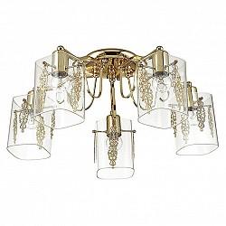 Потолочная люстра Lumion5 или 6 ламп<br>Артикул - LMN_3069_5C,Бренд - Lumion (Италия),Коллекция - Ora,Гарантия, месяцы - 24,Высота, мм - 255,Диаметр, мм - 550,Размер упаковки, мм - 180x250x480,Тип лампы - компактная люминесцентная [КЛЛ] ИЛИнакаливания ИЛИсветодиодная [LED],Общее кол-во ламп - 5,Напряжение питания лампы, В - 220,Максимальная мощность лампы, Вт - 60,Лампы в комплекте - отсутствуют,Цвет плафонов и подвесок - неокрашенный с золотым рисунком,Тип поверхности плафонов - глянцевый, прозрачный,Материал плафонов и подвесок - стекло,Цвет арматуры - золото,Тип поверхности арматуры - глянцевый, металлик,Материал арматуры - металл,Возможность подлючения диммера - можно, если установить лампу накаливания,Тип цоколя лампы - E27,Класс электробезопасности - I,Общая мощность, Вт - 300,Степень пылевлагозащиты, IP - 20,Диапазон рабочих температур - комнатная температура,Дополнительные параметры - способ крепления к потолку - на монтажной пластине<br>