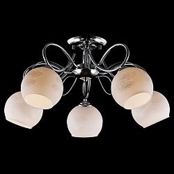 Люстра на штанге Eurosvet5 или 6 ламп<br>Артикул - EV_76404,Бренд - Eurosvet (Китай),Коллекция - Жасмин,Гарантия, месяцы - 24,Высота, мм - 280,Диаметр, мм - 610,Тип лампы - компактная люминесцентная [КЛЛ] ИЛИнакаливания ИЛИсветодиодная [LED],Общее кол-во ламп - 5,Напряжение питания лампы, В - 220,Максимальная мощность лампы, Вт - 60,Лампы в комплекте - отсутствуют,Цвет плафонов и подвесок - белый с рисунком,Тип поверхности плафонов - матовый,Материал плафонов и подвесок - стекло,Цвет арматуры - хром,Тип поверхности арматуры - глянцевый,Материал арматуры - металл,Возможность подлючения диммера - можно, если установить лампу накаливания,Тип цоколя лампы - E27,Класс электробезопасности - I,Общая мощность, Вт - 300,Степень пылевлагозащиты, IP - 20,Диапазон рабочих температур - комнатная температура,Дополнительные параметры - способ крепления светильника к потолку - на монтажной пластине<br>