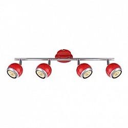 Спот GloboС 4 лампами<br>Артикул - GB_57885-4O,Бренд - Globo (Австрия),Коллекция - Oman,Гарантия, месяцы - 24,Размер упаковки, мм - 555x140x105,Тип лампы - галогеновая ИЛИсветодиодная [LED],Общее кол-во ламп - 4,Напряжение питания лампы, В - 220,Максимальная мощность лампы, Вт - 50,Лампы в комплекте - отсутствуют,Цвет плафонов и подвесок - красный с хромированной каймой,Тип поверхности плафонов - глянцевый, матовый,Материал плафонов и подвесок - металл,Цвет арматуры - красный, хром,Тип поверхности арматуры - глянцевый, матовый,Материал арматуры - металл,Возможность подлючения диммера - нельзя,Форма и тип колбы - полусферическая с рефлектором,Тип цоколя лампы - GU10,Класс электробезопасности - I,Степень пылевлагозащиты, IP - 20,Диапазон рабочих температур - комнатная температура,Дополнительные параметры - способ крепления светильника к потолку и стене - на монтажной пластине, поворотный светильник<br>