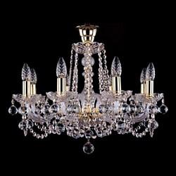 Подвесная люстра Bohemia Ivele CrystalБолее 6 ламп<br>Артикул - BI_1402_8_195_B,Бренд - Bohemia Ivele Crystal (Чехия),Коллекция - 1402,Гарантия, месяцы - 24,Высота, мм - 410,Диаметр, мм - 580,Размер упаковки, мм - 450x450x200,Тип лампы - компактная люминесцентная [КЛЛ] ИЛИнакаливания ИЛИсветодиодная [LED],Общее кол-во ламп - 8,Напряжение питания лампы, В - 220,Максимальная мощность лампы, Вт - 40,Лампы в комплекте - отсутствуют,Цвет плафонов и подвесок - неокрашенный,Тип поверхности плафонов - прозрачный,Материал плафонов и подвесок - хрусталь,Цвет арматуры - золото, неокрашенный,Тип поверхности арматуры - глянцевый, прозрачный,Материал арматуры - металл, стекло,Возможность подлючения диммера - можно, если установить лампу накаливания,Форма и тип колбы - свеча,Тип цоколя лампы - E14,Класс электробезопасности - I,Общая мощность, Вт - 320,Степень пылевлагозащиты, IP - 20,Диапазон рабочих температур - комнатная температура,Дополнительные параметры - способ крепления светильника к потолку – на крюке<br>