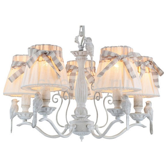 Подвесная люстра MaytoniСветильники<br>Артикул - MY_ARM013-05-W,Бренд - Maytoni (Германия),Коллекция - Bird,Гарантия, месяцы - 24,Высота, мм - 370-870,Диаметр, мм - 550,Тип лампы - компактная люминесцентная [КЛЛ] ИЛИнакаливания ИЛИсветодиодная [LED],Общее кол-во ламп - 5,Напряжение питания лампы, В - 220,Максимальная мощность лампы, Вт - 40,Лампы в комплекте - отсутствуют,Цвет плафонов и подвесок - белый с полосатой лентой,Тип поверхности плафонов - матовый,Материал плафонов и подвесок - текстиль,Цвет арматуры - белый,Тип поверхности арматуры - матовый,Материал арматуры - металл,Количество плафонов - 5,Возможность подлючения диммера - можно, если установить лампу накаливания,Тип цоколя лампы - E14,Класс электробезопасности - I,Общая мощность, Вт - 200,Степень пылевлагозащиты, IP - 20,Диапазон рабочих температур - комнатная температура,Дополнительные параметры - способ крепления светильника к потолку – на крюке<br>