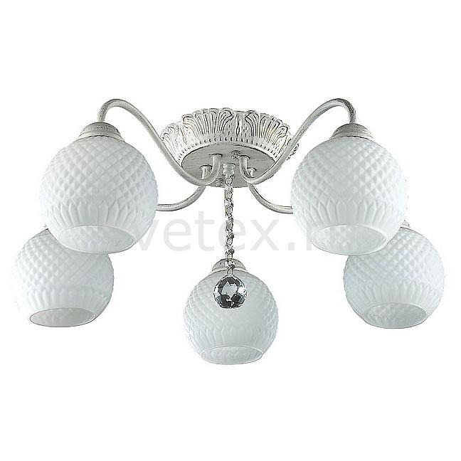 Потолочная люстра LumionЛюстры<br>Артикул - LMN_3122_5C,Бренд - Lumion (Италия),Коллекция - Elodia,Гарантия, месяцы - 24,Высота, мм - 220,Диаметр, мм - 620,Размер упаковки, мм - 160x320x540,Тип лампы - компактная люминесцентная [КЛЛ] ИЛИнакаливания ИЛИсветодиодная [LED],Общее кол-во ламп - 5,Напряжение питания лампы, В - 220,Максимальная мощность лампы, Вт - 60,Лампы в комплекте - отсутствуют,Цвет плафонов и подвесок - белый,Тип поверхности плафонов - матовый, рельефный,Материал плафонов и подвесок - стекло,Цвет арматуры - белый с золотой патиной,Тип поверхности арматуры - матовый, рельефный,Материал арматуры - металл,Количество плафонов - 5,Возможность подлючения диммера - можно, если установить лампу накаливания,Тип цоколя лампы - E27,Класс электробезопасности - I,Общая мощность, Вт - 300,Степень пылевлагозащиты, IP - 20,Диапазон рабочих температур - комнатная температура,Дополнительные параметры - способ крепления к потолку - на монтажной пластине<br>