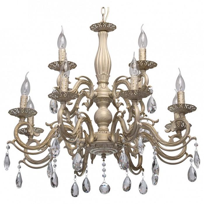 Подвесная люстра De MarktБолее 6 ламп<br>Артикул - MW_371013112,Бренд - De Markt (Германия),Коллекция - Аврора 5,Гарантия, месяцы - 24,Высота, мм - 1030,Диаметр, мм - 750,Тип лампы - компактная люминесцентная [КЛЛ] ИЛИнакаливания ИЛИсветодиодная [LED],Общее кол-во ламп - 12,Напряжение питания лампы, В - 220,Максимальная мощность лампы, Вт - 60,Лампы в комплекте - отсутствуют,Цвет плафонов и подвесок - неокрашенный,Тип поверхности плафонов - прозрачный,Материал плафонов и подвесок - хрусталь,Цвет арматуры - белый с золотой патиной,Тип поверхности арматуры - матовый, рельефный,Материал арматуры - металл,Возможность подлючения диммера - можно, если установить лампу накаливания,Форма и тип колбы - свеча ИЛИ свеча на ветру,Тип цоколя лампы - E14,Класс электробезопасности - I,Общая мощность, Вт - 720,Степень пылевлагозащиты, IP - 20,Диапазон рабочих температур - комнатная температура,Дополнительные параметры - регулируется по высоте,  способ крепления светильника к потолку – на крюке<br>