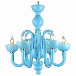Подвесная люстра ST-Luce5 или 6 ламп<br>Артикул - SL634.803.06,Бренд - ST-Luce (Китай),Коллекция - Stella,Гарантия, месяцы - 24,Высота, мм - 585,Диаметр, мм - 575,Размер упаковки, мм - 550x390x640,Тип лампы - компактная люминесцентная [КЛЛ] ИЛИнакаливания ИЛИсветодиодная [LED],Общее кол-во ламп - 6,Напряжение питания лампы, В - 220,Максимальная мощность лампы, Вт - 60,Лампы в комплекте - отсутствуют,Цвет арматуры - голубой, хром,Тип поверхности арматуры - матовый,Материал арматуры - металл, стекло,Возможность подлючения диммера - можно, если установить лампу накаливания,Форма и тип колбы - свеча ИЛИ свеча на ветру,Тип цоколя лампы - E14,Класс электробезопасности - I,Общая мощность, Вт - 360,Степень пылевлагозащиты, IP - 20,Диапазон рабочих температур - комнатная температура,Дополнительные параметры - способ крепления светильника к потолку - на крюке, регулируется по высоте<br>