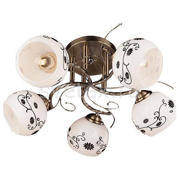 Люстра на штанге ОптимаЛюстры<br>Артикул - EV_70133,Бренд - Оптима (Китай),Коллекция - 9647,Гарантия, месяцы - 24,Высота, мм - 220,Диаметр, мм - 460,Тип лампы - компактная люминесцентная [КЛЛ] ИЛИнакаливания ИЛИсветодиодная [LED],Общее кол-во ламп - 5,Напряжение питания лампы, В - 220,Максимальная мощность лампы, Вт - 60,Лампы в комплекте - отсутствуют,Цвет плафонов и подвесок - белый с рисунком,Тип поверхности плафонов - матовый,Материал плафонов и подвесок - стекло,Цвет арматуры - бронза античная,Тип поверхности арматуры - матовый,Материал арматуры - металл,Количество плафонов - 5,Возможность подлючения диммера - можно, если установить лампу накаливания,Тип цоколя лампы - E27,Класс электробезопасности - I,Общая мощность, Вт - 300,Степень пылевлагозащиты, IP - 20,Диапазон рабочих температур - комнатная температура,Дополнительные параметры - способ крепления светильника к потолку - на монтажной пластине<br>