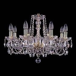 Подвесная люстра Bohemia Ivele CrystalБолее 6 ламп<br>Артикул - BI_1402_8_195,Бренд - Bohemia Ivele Crystal (Чехия),Коллекция - 1402,Гарантия, месяцы - 24,Высота, мм - 410,Диаметр, мм - 580,Размер упаковки, мм - 450x450x200,Тип лампы - компактная люминесцентная [КЛЛ] ИЛИнакаливания ИЛИсветодиодная [LED],Общее кол-во ламп - 8,Напряжение питания лампы, В - 220,Максимальная мощность лампы, Вт - 40,Лампы в комплекте - отсутствуют,Цвет плафонов и подвесок - неокрашенный,Тип поверхности плафонов - прозрачный,Материал плафонов и подвесок - хрусталь,Цвет арматуры - золото, неокрашенный,Тип поверхности арматуры - глянцевый, прозрачный,Материал арматуры - металл, стекло,Возможность подлючения диммера - можно, если установить лампу накаливания,Форма и тип колбы - свеча,Тип цоколя лампы - E14,Класс электробезопасности - I,Общая мощность, Вт - 320,Степень пылевлагозащиты, IP - 20,Диапазон рабочих температур - комнатная температура,Дополнительные параметры - способ крепления светильника к потолку – на крюке<br>