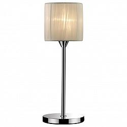 Настольная лампа Odeon LightС абажуром<br>Артикул - OD_2085_1T,Бренд - Odeon Light (Италия),Коллекция - Niola,Гарантия, месяцы - 24,Высота, мм - 380,Диаметр, мм - 140,Тип лампы - компактная люминесцентная [КЛЛ] ИЛИнакаливания ИЛИсветодиодная [LED],Общее кол-во ламп - 1,Напряжение питания лампы, В - 220,Максимальная мощность лампы, Вт - 40,Лампы в комплекте - отсутствуют,Цвет плафонов и подвесок - молочный,Тип поверхности плафонов - матовый, рельефный,Материал плафонов и подвесок - органза,Цвет арматуры - хром,Тип поверхности арматуры - глянцевый,Материал арматуры - металл,Количество плафонов - 1,Тип цоколя лампы - E14,Класс электробезопасности - II,Степень пылевлагозащиты, IP - 20,Диапазон рабочих температур - комнатная температура<br>