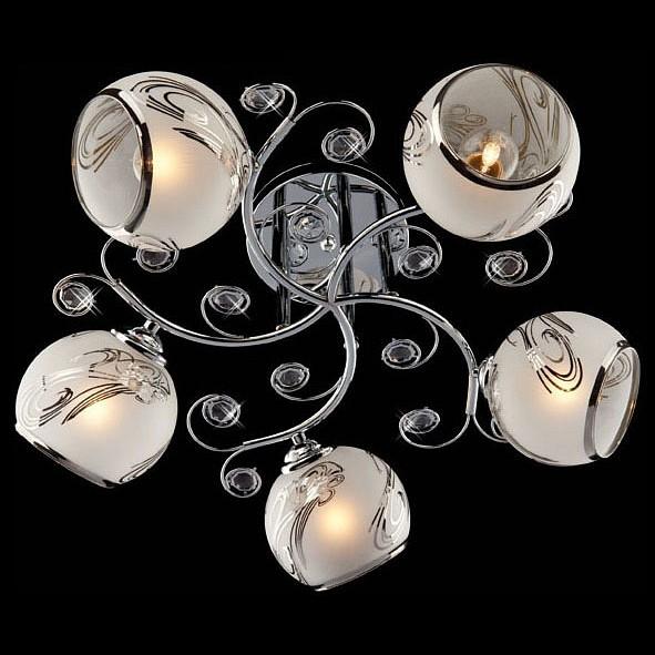 Люстра на штанге ОптимаЛюстры<br>Артикул - EV_71362,Бренд - Оптима (Китай),Коллекция - 30031,Гарантия, месяцы - 24,Высота, мм - 220,Диаметр, мм - 430,Тип лампы - компактная люминесцентная [КЛЛ] ИЛИнакаливания ИЛИсветодиодная [LED],Общее кол-во ламп - 5,Напряжение питания лампы, В - 220,Максимальная мощность лампы, Вт - 60,Лампы в комплекте - отсутствуют,Цвет плафонов и подвесок - белый с рисунком, неокрашенный,Тип поверхности плафонов - матовый, прозрачный,Материал плафонов и подвесок - стекло, хрусталь,Цвет арматуры - хром,Тип поверхности арматуры - глянцевый,Материал арматуры - металл,Количество плафонов - 5,Возможность подлючения диммера - можно, если установить лампу накаливания,Тип цоколя лампы - E27,Класс электробезопасности - I,Общая мощность, Вт - 300,Степень пылевлагозащиты, IP - 20,Диапазон рабочих температур - комнатная температура,Дополнительные параметры - способ крепления светильника к потолку - на монтажной пластине<br>