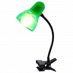 Настольная лампа GloboНа прищепке<br>Артикул - GB_54854,Бренд - Globo (Австрия),Коллекция - Clip,Гарантия, месяцы - 24,Время изготовления, дней - 1,Высота, мм - 340,Размер упаковки, мм - 80x160x140,Тип лампы - компактная люминесцентная [КЛЛ] ИЛИнакаливания ИЛИсветодиодная [LED],Общее кол-во ламп - 1,Напряжение питания лампы, В - 220,Максимальная мощность лампы, Вт - 40,Лампы в комплекте - отсутствуют,Цвет плафонов и подвесок - зеленый,Тип поверхности плафонов - прозрачный,Материал плафонов и подвесок - полимер,Цвет арматуры - черный,Тип поверхности арматуры - матовый,Материал арматуры - металл,Тип цоколя лампы - E14,Класс электробезопасности - II,Степень пылевлагозащиты, IP - 20,Диапазон рабочих температур - комнатная температура,Дополнительные параметры - поворотный светильник на прищепке<br>