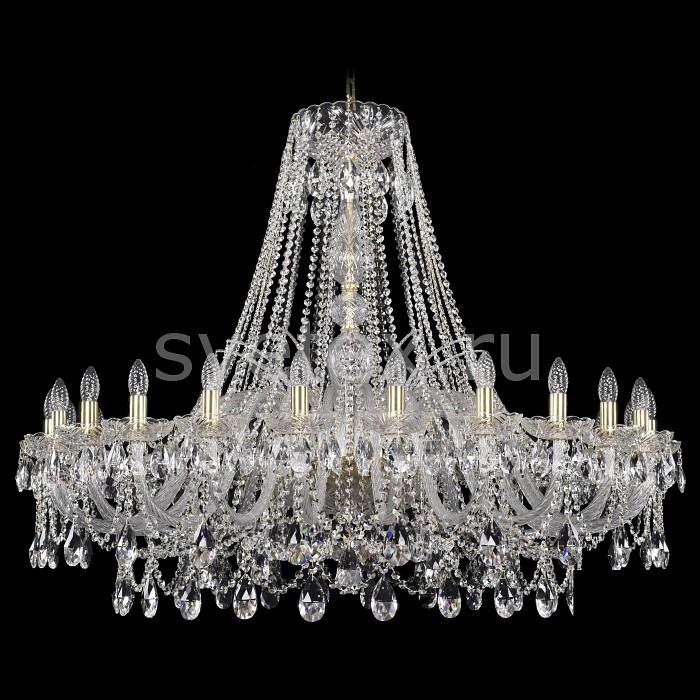 Подвесная люстра Bohemia Ivele CrystalБолее 6 ламп<br>Артикул - BI_1411_24_460_G,Бренд - Bohemia Ivele Crystal (Чехия),Коллекция - 1411,Гарантия, месяцы - 24,Высота, мм - 1050,Диаметр, мм - 1320,Размер упаковки, мм - 710x710x350,Тип лампы - компактная люминесцентная [КЛЛ] ИЛИнакаливания ИЛИсветодиодная [LED],Общее кол-во ламп - 24,Напряжение питания лампы, В - 220,Максимальная мощность лампы, Вт - 40,Лампы в комплекте - отсутствуют,Цвет плафонов и подвесок - неокрашенный,Тип поверхности плафонов - прозрачный,Материал плафонов и подвесок - хрусталь,Цвет арматуры - золото, неокрашенный,Тип поверхности арматуры - глянцевый, прозрачный,Материал арматуры - металл, стекло,Возможность подлючения диммера - можно, если установить лампу накаливания,Форма и тип колбы - свеча ИЛИ свеча на ветру,Тип цоколя лампы - E14,Класс электробезопасности - I,Общая мощность, Вт - 960,Степень пылевлагозащиты, IP - 20,Диапазон рабочих температур - комнатная температура,Дополнительные параметры - способ крепления светильника к потолку - на крюке, указана высота светильники без подвеса<br>