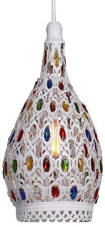 Подвесной светильник FavouriteПодвесные светильники<br>Артикул - FV_1667-1P,Бренд - Favourite (Германия),Коллекция - Latifa,Гарантия, месяцы - 24,Высота, мм - 330-1000,Диаметр, мм - 160,Тип лампы - компактная люминесцентная [КЛЛ] ИЛИнакаливания ИЛИсветодиодная [LED],Общее кол-во ламп - 1,Напряжение питания лампы, В - 220,Максимальная мощность лампы, Вт - 40,Лампы в комплекте - отсутствуют,Цвет плафонов и подвесок - белый, разноцветный,Тип поверхности плафонов - матовый, прозрачный,Материал плафонов и подвесок - металл, хрусталь,Цвет арматуры - белый,Тип поверхности арматуры - матовый,Материал арматуры - металл,Количество плафонов - 1,Возможность подлючения диммера - можно, если установить лампу накаливания,Тип цоколя лампы - E27,Класс электробезопасности - I,Степень пылевлагозащиты, IP - 20,Диапазон рабочих температур - комнатная температура,Дополнительные параметры - способ крепления светильника к потолку - на крюке, регулируется по высоте<br>