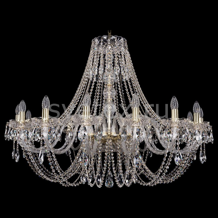 Подвесная люстра Bohemia Ivele CrystalБолее 6 ламп<br>Артикул - BI_1406_16_400_G,Бренд - Bohemia Ivele Crystal (Чехия),Коллекция - 1406,Гарантия, месяцы - 24,Высота, мм - 830,Диаметр, мм - 1150,Размер упаковки, мм - 710x710x350,Тип лампы - компактная люминесцентная [КЛЛ] ИЛИнакаливания ИЛИсветодиодная [LED],Общее кол-во ламп - 16,Напряжение питания лампы, В - 220,Максимальная мощность лампы, Вт - 40,Лампы в комплекте - отсутствуют,Цвет плафонов и подвесок - неокрашенный,Тип поверхности плафонов - прозрачный,Материал плафонов и подвесок - хрусталь,Цвет арматуры - золото, неокрашенный,Тип поверхности арматуры - глянцевый, прозрачный,Материал арматуры - металл, стекло,Возможность подлючения диммера - можно, если установить лампу накаливания,Форма и тип колбы - свеча ИЛИ свеча на ветру,Тип цоколя лампы - E14,Класс электробезопасности - I,Общая мощность, Вт - 640,Степень пылевлагозащиты, IP - 20,Диапазон рабочих температур - комнатная температура,Дополнительные параметры - способ крепления светильника к потолку - на крюке, указана высота светильники без подвеса<br>