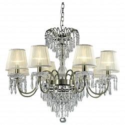 Подвесная люстра Odeon LightТекстильные плафоны<br>Артикул - OD_2681_8,Бренд - Odeon Light (Италия),Коллекция - Dasher,Гарантия, месяцы - 24,Высота, мм - 630,Диаметр, мм - 780,Тип лампы - компактная люминесцентная [КЛЛ] ИЛИнакаливания ИЛИсветодиодная [LED],Общее кол-во ламп - 8,Напряжение питания лампы, В - 220,Максимальная мощность лампы, Вт - 60,Лампы в комплекте - отсутствуют,Цвет плафонов и подвесок - белый, неокрашенный,Тип поверхности плафонов - прозрачный,Материал плафонов и подвесок - текстиль, хрусталь,Цвет арматуры - бронза, неокрашенный,Тип поверхности арматуры - глянцевый, прозрачный,Материал арматуры - металл, стекло,Количество плафонов - 8,Возможность подлючения диммера - можно, если установить лампу накаливания,Тип цоколя лампы - E14,Класс электробезопасности - I,Общая мощность, Вт - 480,Степень пылевлагозащиты, IP - 20,Диапазон рабочих температур - комнатная температура,Дополнительные параметры - указана высота светильника без подвеса<br>