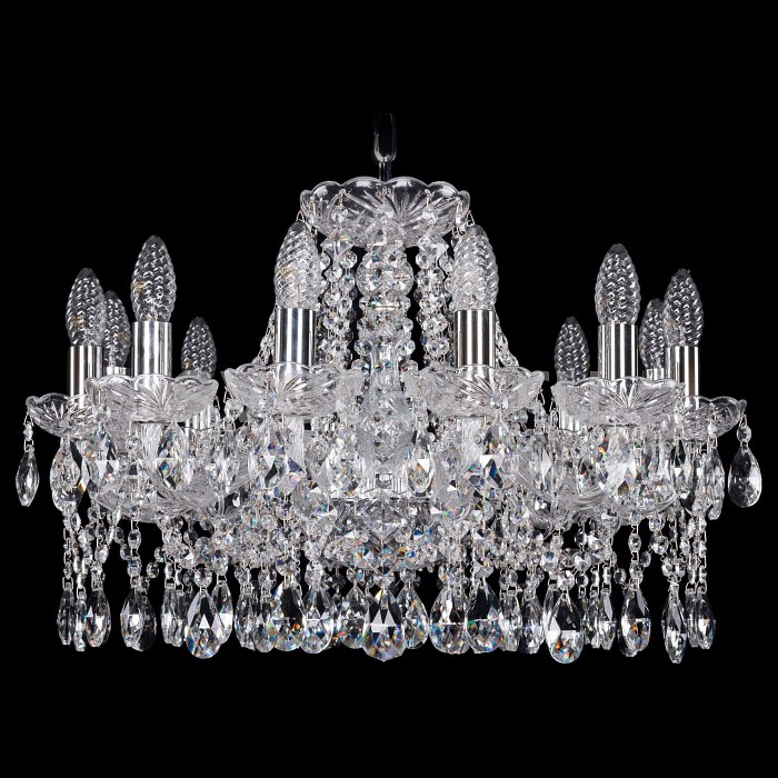 Подвесная люстра Bohemia Ivele CrystalБолее 6 ламп<br>Артикул - BI_1413_12_200_Ni,Бренд - Bohemia Ivele Crystal (Чехия),Коллекция - 1413,Гарантия, месяцы - 24,Высота, мм - 390,Диаметр, мм - 600,Размер упаковки, мм - 710x710x350,Тип лампы - компактная люминесцентная [КЛЛ] ИЛИнакаливания ИЛИсветодиодная [LED],Общее кол-во ламп - 12,Напряжение питания лампы, В - 220,Максимальная мощность лампы, Вт - 40,Лампы в комплекте - отсутствуют,Цвет плафонов и подвесок - неокрашенный,Тип поверхности плафонов - прозрачный,Материал плафонов и подвесок - хрусталь,Цвет арматуры - никель, неокрашенный,Тип поверхности арматуры - матовый, прозрачный,Материал арматуры - металл, стекло,Возможность подлючения диммера - можно, если установить лампу накаливания,Форма и тип колбы - свеча ИЛИ свеча на ветру,Тип цоколя лампы - E14,Класс электробезопасности - I,Общая мощность, Вт - 480,Степень пылевлагозащиты, IP - 20,Диапазон рабочих температур - комнатная температура,Дополнительные параметры - способ крепления светильника к потолку - на крюке, указана высота светильники без подвеса<br>