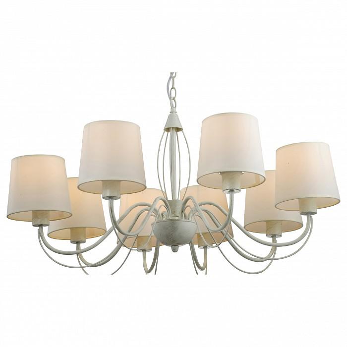 Подвесная люстра Arte LampСветильники<br>Артикул - AR_A9310LM-8WG,Бренд - Arte Lamp (Италия),Коллекция - Orlean,Гарантия, месяцы - 24,Время изготовления, дней - 1,Высота, мм - 960,Диаметр, мм - 840,Тип лампы - компактная люминесцентная [КЛЛ] ИЛИнакаливания ИЛИсветодиодная [LED],Общее кол-во ламп - 8,Напряжение питания лампы, В - 220,Максимальная мощность лампы, Вт - 40,Лампы в комплекте - отсутствуют,Цвет плафонов и подвесок - белый,Тип поверхности плафонов - матовый,Материал плафонов и подвесок - текстиль,Цвет арматуры - белый с золотой патиной,Тип поверхности арматуры - матовый,Материал арматуры - металл,Количество плафонов - 8,Возможность подлючения диммера - можно, если установить лампу накаливания,Тип цоколя лампы - E27,Класс электробезопасности - I,Общая мощность, Вт - 320,Степень пылевлагозащиты, IP - 20,Диапазон рабочих температур - комнатная температура<br>