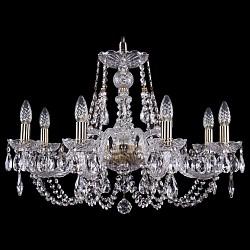 Подвесная люстра Bohemia Ivele CrystalБолее 6 ламп<br>Артикул - BI_1406_8_240_Pa,Бренд - Bohemia Ivele Crystal (Чехия),Коллекция - 1406,Гарантия, месяцы - 24,Высота, мм - 460,Диаметр, мм - 700,Размер упаковки, мм - 710x710x350,Тип лампы - компактная люминесцентная [КЛЛ] ИЛИнакаливания ИЛИсветодиодная [LED],Общее кол-во ламп - 8,Напряжение питания лампы, В - 220,Максимальная мощность лампы, Вт - 40,Лампы в комплекте - отсутствуют,Цвет плафонов и подвесок - неокрашенный,Тип поверхности плафонов - прозрачный,Материал плафонов и подвесок - хрусталь,Цвет арматуры - золото с патиной, неокрашенный,Тип поверхности арматуры - глянцевый, прозрачный, рельефный,Материал арматуры - металл, стекло,Возможность подлючения диммера - можно, если установить лампу накаливания,Форма и тип колбы - свеча ИЛИ свеча на ветру,Тип цоколя лампы - E14,Класс электробезопасности - I,Общая мощность, Вт - 320,Степень пылевлагозащиты, IP - 20,Диапазон рабочих температур - комнатная температура,Дополнительные параметры - способ крепления светильника к потолку - на крюке, указана высота светильника без подвеса<br>