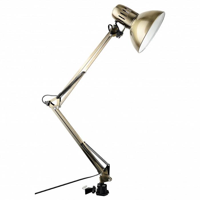 Настольная лампа Arte LampНа струбцине<br>Артикул - AR_A6068LT-1AB,Бренд - Arte Lamp (Италия),Коллекция - Senior,Гарантия, месяцы - 24,Ширина, мм - 170,Высота, мм - 850,Выступ, мм - 170,Диаметр, мм - 170,Тип лампы - компактная люминесцентная [КЛЛ] ИЛИнакаливания ИЛИсветодиодная [LED],Общее кол-во ламп - 1,Напряжение питания лампы, В - 220,Максимальная мощность лампы, Вт - 40,Лампы в комплекте - отсутствуют,Цвет плафонов и подвесок - бронза античная,Тип поверхности плафонов - матовый,Материал плафонов и подвесок - металл,Цвет арматуры - бронза античная,Тип поверхности арматуры - матовый,Материал арматуры - полимер,Количество плафонов - 1,Наличие выключателя, диммера или пульта ДУ - выключатель на проводе,Компоненты, входящие в комплект - провод электропитания с вилкой без заземления,Тип цоколя лампы - E27,Класс электробезопасности - II,Степень пылевлагозащиты, IP - 20,Диапазон рабочих температур - комнатная температура,Дополнительные параметры - поворотный светильник, светильник на струбцине<br>