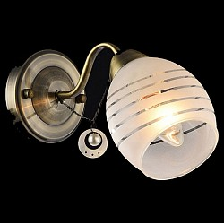 Бра EurosvetС 1 лампой<br>Артикул - EV_76625,Бренд - Eurosvet (Китай),Коллекция - Лаура,Гарантия, месяцы - 24,Высота, мм - 160,Тип лампы - компактная люминесцентная [КЛЛ] ИЛИнакаливания ИЛИсветодиодная [LED],Общее кол-во ламп - 1,Напряжение питания лампы, В - 220,Максимальная мощность лампы, Вт - 60,Лампы в комплекте - отсутствуют,Цвет плафонов и подвесок - белый полосатый,Тип поверхности плафонов - матовый,Материал плафонов и подвесок - стекло,Цвет арматуры - бронза античная,Тип поверхности арматуры - матовый,Материал арматуры - металл,Возможность подлючения диммера - можно, если установить лампу накаливания,Тип цоколя лампы - E27,Класс электробезопасности - I,Степень пылевлагозащиты, IP - 20,Диапазон рабочих температур - комнатная температура,Дополнительные параметры - способ крепления светильника к стене - на монтажной пластине, светильник предназначен для использования со скрытой проводкой<br>