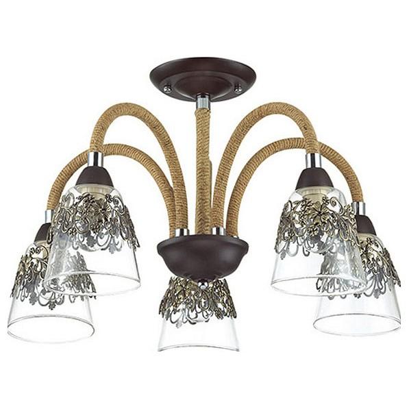 Люстра на штанге Odeon LightЛюстры<br>Артикул - OD_3252_5C,Бренд - Odeon Light (Италия),Коллекция - Teona,Гарантия, месяцы - 24,Высота, мм - 380,Диаметр, мм - 555,Тип лампы - компактная люминесцентная [КЛЛ] ИЛИнакаливания ИЛИсветодиодная [LED],Общее кол-во ламп - 5,Напряжение питания лампы, В - 220,Максимальная мощность лампы, Вт - 60,Лампы в комплекте - отсутствуют,Цвет плафонов и подвесок - бронза, неокрашенный,Тип поверхности плафонов - матовый, прозрачный,Материал плафонов и подвесок - стекло,Цвет арматуры - коричневый, кофе, хром,Тип поверхности арматуры - глянцевый, матовый,Материал арматуры - канат, металл,Количество плафонов - 5,Возможность подлючения диммера - можно, если установить лампу накаливания,Тип цоколя лампы - E14,Класс электробезопасности - I,Общая мощность, Вт - 300,Степень пылевлагозащиты, IP - 20,Диапазон рабочих температур - комнатная температура,Дополнительные параметры - способ крепления светильника к потолку - на монтажной пластине<br>
