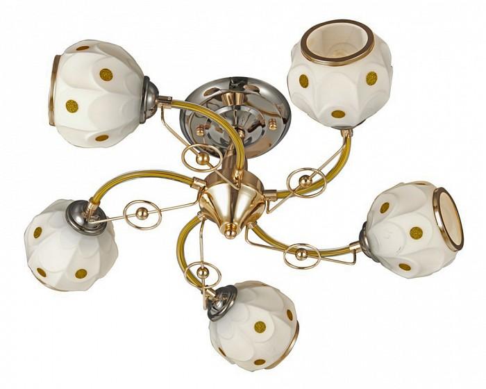 Люстра на штанге VelanteЛюстры<br>Артикул - VE_723-307-05,Бренд - Velante (Италия),Коллекция - 723,Гарантия, месяцы - 24,Высота, мм - 200,Диаметр, мм - 520,Тип лампы - компактная люминесцентная [КЛЛ] ИЛИнакаливания ИЛИсветодиодная [LED],Общее кол-во ламп - 5,Напряжение питания лампы, В - 220,Максимальная мощность лампы, Вт - 60,Лампы в комплекте - отсутствуют,Цвет плафонов и подвесок - белый с золотым рисунком,Тип поверхности плафонов - матовый,Материал плафонов и подвесок - стекло,Цвет арматуры - золото, черное золото, оранжевый,Тип поверхности арматуры - глянцевый, матовый,Материал арматуры - металл,Количество плафонов - 5,Возможность подлючения диммера - можно, если установить лампу накаливания,Тип цоколя лампы - E27,Класс электробезопасности - I,Общая мощность, Вт - 300,Степень пылевлагозащиты, IP - 20,Диапазон рабочих температур - комнатная температура,Дополнительные параметры - способ крепления светильника к потолку - на монтажной пластине<br>