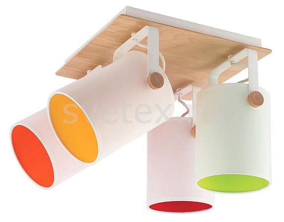 Спот TK LightingКвадратные<br>Артикул - EV_76277,Бренд - TK Lighting (Польша),Коллекция - Relax,Гарантия, месяцы - 24,Длина, мм - 320,Ширина, мм - 320,Выступ, мм - 260,Тип лампы - компактная люминесцентная [КЛЛ] ИЛИнакаливания ИЛИсветодиодная [LED],Общее кол-во ламп - 4,Напряжение питания лампы, В - 220,Максимальная мощность лампы, Вт - 60,Лампы в комплекте - отсутствуют,Цвет плафонов и подвесок - белый, зеленый, красный, оранжевый,Тип поверхности плафонов - матовый,Материал плафонов и подвесок - текстиль,Цвет арматуры - белый, светлое дерево,Тип поверхности арматуры - матовый,Материал арматуры - дерево, металл,Количество плафонов - 4,Возможность подлючения диммера - можно, если установить лампу накаливания,Тип цоколя лампы - E27,Класс электробезопасности - I,Общая мощность, Вт - 240,Степень пылевлагозащиты, IP - 20,Диапазон рабочих температур - комнатная температура,Дополнительные параметры - способ крепления к потолку и стене - на монтажной пластине, поворотный светильник<br>
