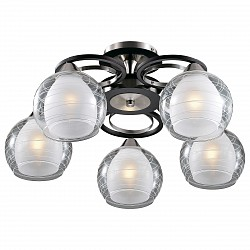Потолочная люстра Odeon Light5 или 6 ламп<br>Артикул - OD_2774_5C,Бренд - Odeon Light (Италия),Коллекция - Vesonto,Гарантия, месяцы - 24,Высота, мм - 278,Диаметр, мм - 580,Тип лампы - компактная люминесцентная [КЛЛ] ИЛИнакаливания ИЛИсветодиодная [LED],Общее кол-во ламп - 5,Напряжение питания лампы, В - 220,Максимальная мощность лампы, Вт - 60,Лампы в комплекте - отсутствуют,Цвет плафонов и подвесок - белый, неокрашенный полосатый,Тип поверхности плафонов - матовый, прозрачный,Материал плафонов и подвесок - стекло,Цвет арматуры - венге, никель,Тип поверхности арматуры - глянцевый, матовый,Материал арматуры - металл,Возможность подлючения диммера - можно, если установить лампу накаливания,Тип цоколя лампы - E27,Класс электробезопасности - I,Общая мощность, Вт - 300,Степень пылевлагозащиты, IP - 20,Диапазон рабочих температур - комнатная температура<br>