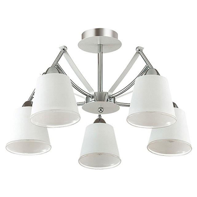 Люстра на штанге LumionЛюстры<br>Артикул - LMN_3449_5C,Бренд - Lumion (Италия),Коллекция - Hadrinna,Гарантия, месяцы - 24,Высота, мм - 300,Диаметр, мм - 530,Размер упаковки, мм - 150x470x285,Тип лампы - компактная люминесцентная [КЛЛ] ИЛИнакаливания ИЛИсветодиодная [LED],Общее кол-во ламп - 5,Напряжение питания лампы, В - 220,Максимальная мощность лампы, Вт - 60,Лампы в комплекте - отсутствуют,Цвет плафонов и подвесок - белый,Тип поверхности плафонов - матовый,Материал плафонов и подвесок - стекло,Цвет арматуры - белый, хром,Тип поверхности арматуры - глянцевый, матовый,Материал арматуры - металл,Количество плафонов - 5,Возможность подлючения диммера - можно, если установить лампу накаливания,Тип цоколя лампы - E14,Класс электробезопасности - I,Общая мощность, Вт - 300,Степень пылевлагозащиты, IP - 20,Диапазон рабочих температур - комнатная температура,Дополнительные параметры - способ крепления светильника к потолку - на монтажной пластине<br>