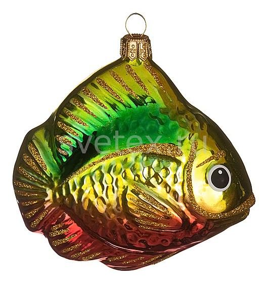 Елочная игрушка АРТИ-МЕлочные игрушки<br>Артикул - art_860-483,Бренд - АРТИ-М (Россия),Коллекция - Карасик,Высота, мм - 70,Цвет - зеленый, золотой, красный,Материал - стекло<br>