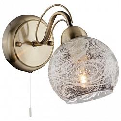 Бра EurosvetС 1 лампой<br>Артикул - EV_71381,Бренд - Eurosvet (Китай),Коллекция - 70002,Гарантия, месяцы - 24,Высота, мм - 180,Тип лампы - компактная люминесцентная [КЛЛ] ИЛИнакаливания ИЛИсветодиодная [LED],Общее кол-во ламп - 1,Напряжение питания лампы, В - 220,Максимальная мощность лампы, Вт - 40,Лампы в комплекте - отсутствуют,Цвет плафонов и подвесок - неокрашенный с рисунком,Тип поверхности плафонов - матовый, прозрачный,Материал плафонов и подвесок - стекло,Цвет арматуры - бронза античная,Тип поверхности арматуры - матовый, рельефный,Материал арматуры - металл,Возможность подлючения диммера - можно, если установить лампу накаливания,Тип цоколя лампы - E14,Класс электробезопасности - I,Степень пылевлагозащиты, IP - 20,Диапазон рабочих температур - комнатная температура,Дополнительные параметры - способ крепления светильника на стене – на монтажной пластине, светильник предназначен для использования со скрытой проводкой<br>