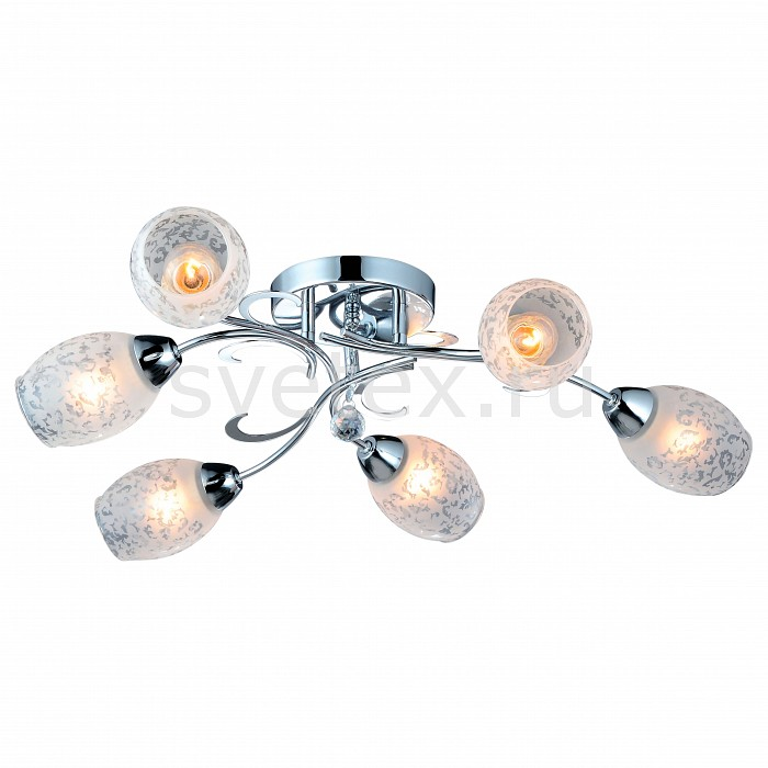 Потолочная люстра Arte LampЛюстры<br>Артикул - AR_A6055PL-6CC,Бренд - Arte Lamp (Италия),Коллекция - Debora,Гарантия, месяцы - 24,Время изготовления, дней - 1,Высота, мм - 140,Диаметр, мм - 750,Тип лампы - компактная люминесцентная [КЛЛ] ИЛИнакаливания ИЛИсветодиодная [LED],Общее кол-во ламп - 6,Напряжение питания лампы, В - 220,Максимальная мощность лампы, Вт - 60,Лампы в комплекте - отсутствуют,Цвет плафонов и подвесок - белый с рисунком,Тип поверхности плафонов - матовый,Материал плафонов и подвесок - стекло,Цвет арматуры - хром,Тип поверхности арматуры - глянцевый,Материал арматуры - металл,Количество плафонов - 6,Возможность подлючения диммера - можно, если установить лампу накаливания,Тип цоколя лампы - E14,Класс электробезопасности - I,Общая мощность, Вт - 360,Степень пылевлагозащиты, IP - 20,Диапазон рабочих температур - комнатная температура<br>