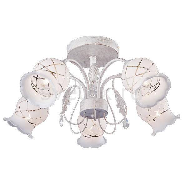Люстра на штанге EurosvetЛюстры<br>Артикул - EV_71380,Бренд - Eurosvet (Китай),Коллекция - 70001,Гарантия, месяцы - 24,Высота, мм - 260,Диаметр, мм - 540,Тип лампы - компактная люминесцентная [КЛЛ] ИЛИнакаливания ИЛИсветодиодная [LED],Общее кол-во ламп - 5,Напряжение питания лампы, В - 220,Максимальная мощность лампы, Вт - 40,Лампы в комплекте - отсутствуют,Цвет плафонов и подвесок - белый с рисунком, неокрашенный,Тип поверхности плафонов - матовый, прозрачный,Материал плафонов и подвесок - стекло, хрусталь,Цвет арматуры - белый с золотой патиной,Тип поверхности арматуры - матовый,Материал арматуры - металл,Количество плафонов - 5,Возможность подлючения диммера - можно, если установить лампу накаливания,Тип цоколя лампы - E14,Класс электробезопасности - I,Общая мощность, Вт - 200,Степень пылевлагозащиты, IP - 20,Диапазон рабочих температур - комнатная температура,Дополнительные параметры - способ крепления светильника к потолку - на монтажной пластине<br>