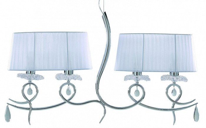Подвесной светильник MantraСветодиодные<br>Артикул - MN_5272,Бренд - Mantra (Испания),Коллекция - Louise,Гарантия, месяцы - 24,Длина, мм - 926,Ширина, мм - 180,Высота, мм - 1500,Тип лампы - компактная люминесцентная [КЛЛ] ИЛИсветодиодная [LED],Общее кол-во ламп - 4,Напряжение питания лампы, В - 220,Максимальная мощность лампы, Вт - 13,Лампы в комплекте - отсутствуют,Цвет плафонов и подвесок - белый, неокрашенный,Тип поверхности плафонов - матовый, прозрачный,Материал плафонов и подвесок - текстиль, хрусталь,Цвет арматуры - хром,Тип поверхности арматуры - глянцевый,Материал арматуры - металл,Количество плафонов - 2,Возможность подлючения диммера - можно, если установить лампу накаливания,Тип цоколя лампы - E27,Класс электробезопасности - I,Общая мощность, Вт - 52,Степень пылевлагозащиты, IP - 20,Диапазон рабочих температур - комнатная температура,Дополнительные параметры - способ крепления светильника к потолку - на крюке, регулируется по высоте<br>