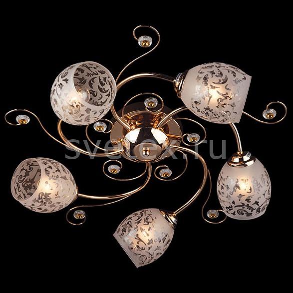 Потолочная люстра ОптимаЛюстры<br>Артикул - EV_6841,Бренд - Оптима (Китай),Коллекция - 9677,Гарантия, месяцы - 24,Высота, мм - 220,Диаметр, мм - 550,Тип лампы - компактная люминесцентная [КЛЛ] ИЛИнакаливания ИЛИсветодиодная [LED],Общее кол-во ламп - 5,Напряжение питания лампы, В - 220,Максимальная мощность лампы, Вт - 60,Лампы в комплекте - отсутствуют,Цвет плафонов и подвесок - белый с рисунком, золото, неокрашенный,Тип поверхности плафонов - матовый,Материал плафонов и подвесок - металл, стекло,Цвет арматуры - золото,Тип поверхности арматуры - глянцевый,Материал арматуры - металл,Количество плафонов - 5,Тип цоколя лампы - E27,Класс электробезопасности - I,Общая мощность, Вт - 300,Степень пылевлагозащиты, IP - 20,Диапазон рабочих температур - комнатная температура<br>