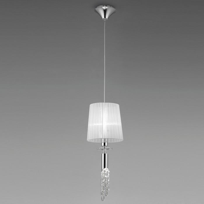 Подвесной светильник MantraСветильники<br>Артикул - MN_3861,Бренд - Mantra (Испания),Коллекция - Tiffany,Гарантия, месяцы - 24,Время изготовления, дней - 1,Высота, мм - 625-1500,Диаметр, мм - 230,Тип лампы - галогеновая, компактная люминесцентная [КЛЛ] ИЛИсветодиодные [LED],Количество ламп - 1, 1,Общее кол-во ламп - 2,Напряжение питания лампы, В - 220,Максимальная мощность лампы, Вт - 5, 20,Лампы в комплекте - отсутствуют,Цвет плафонов и подвесок - белый, неокрашенный,Тип поверхности плафонов - матовый, прозрачный,Материал плафонов и подвесок - органза, хрусталь,Цвет арматуры - неокрашенный, хром,Тип поверхности арматуры - глянцевый, прозрачный,Материал арматуры - металл, стекло,Количество плафонов - 1,Возможность подлючения диммера - можно, если установить галогеновую лампу и лампу накаливания,Тип цоколя лампы - G9, E27,Класс электробезопасности - I,Общая мощность, Вт - 25,Степень пылевлагозащиты, IP - 20,Диапазон рабочих температур - комнатная температура<br>