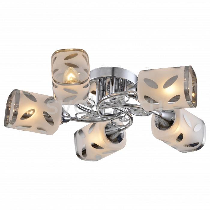 Потолочная люстра ToscomЛюстры<br>Артикул - TO_TC-120-105,Бренд - Toscom (Китай),Коллекция - Grace,Гарантия, месяцы - 24,Высота, мм - 110,Диаметр, мм - 500,Размер упаковки, мм - 320x315x145,Тип лампы - компактная люминесцентная [КЛЛ] ИЛИнакаливания ИЛИсветодиодная [LED],Общее кол-во ламп - 5,Напряжение питания лампы, В - 220,Максимальная мощность лампы, Вт - 40,Лампы в комплекте - отсутствуют,Цвет плафонов и подвесок - белый с хромированным рисунком и каймой,Тип поверхности плафонов - глянцевый, матовый, прозрачный,Материал плафонов и подвесок - стекло, хрусталь,Цвет арматуры - хром,Тип поверхности арматуры - глянцевый,Материал арматуры - металл,Количество плафонов - 5,Возможность подлючения диммера - можно, если установить лампу накаливания,Тип цоколя лампы - E14,Класс электробезопасности - I,Общая мощность, Вт - 200,Степень пылевлагозащиты, IP - 20,Диапазон рабочих температур - комнатная температура,Дополнительные параметры - способ крепления светильника к потолку - на монтажной пластине<br>