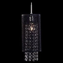 Подвесной светильник EurosvetБарные<br>Артикул - EV_65374,Бренд - Eurosvet (Китай),Коллекция - 1180,Гарантия, месяцы - 24,Высота, мм - 400-1100,Диаметр, мм - 130,Тип лампы - компактная люминесцентная [КЛЛ] ИЛИнакаливания ИЛИсветодиодная [LED],Общее кол-во ламп - 1,Напряжение питания лампы, В - 220,Максимальная мощность лампы, Вт - 60,Лампы в комплекте - отсутствуют,Цвет плафонов и подвесок - неокрашенный, черный,Тип поверхности плафонов - матовый, прозрачный, рельефный,Материал плафонов и подвесок - металл, хрусталь,Цвет арматуры - хром,Тип поверхности арматуры - глянцевый,Материал арматуры - металл,Количество плафонов - 1,Возможность подлючения диммера - можно, если установить лампу накаливания,Тип цоколя лампы - E14,Класс электробезопасности - I,Степень пылевлагозащиты, IP - 20,Диапазон рабочих температур - комнатная температура,Дополнительные параметры - способ крепления светильника к потолку - на монтажной пластине, регулируется по высоте<br>