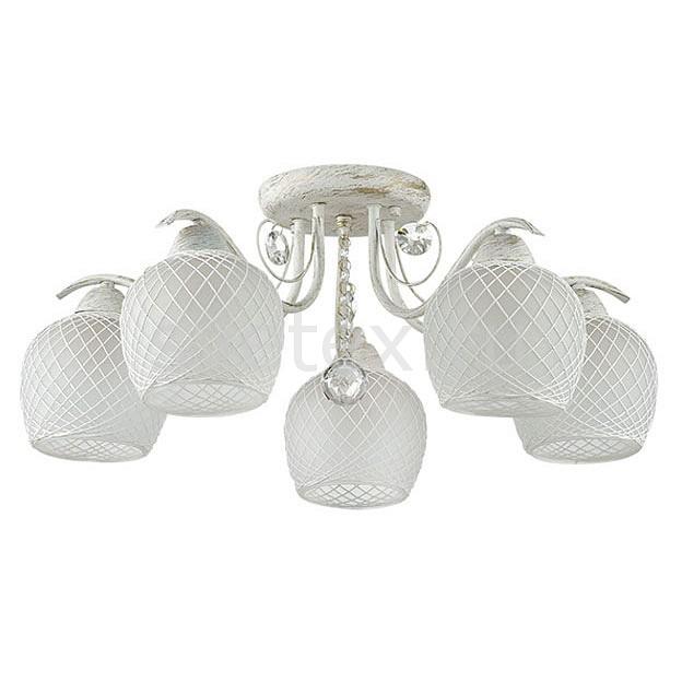 Потолочная люстра LumionЛюстры<br>Артикул - LMN_3254_5C,Бренд - Lumion (Италия),Коллекция - Verena,Гарантия, месяцы - 24,Высота, мм - 180,Диаметр, мм - 570,Размер упаковки, мм - 340x470x180,Тип лампы - компактная люминесцентная [КЛЛ] ИЛИнакаливания ИЛИсветодиодная [LED],Общее кол-во ламп - 5,Напряжение питания лампы, В - 220,Максимальная мощность лампы, Вт - 60,Лампы в комплекте - отсутствуют,Цвет плафонов и подвесок - белый, неокрашенный,Тип поверхности плафонов - матовый, прозрачный,Материал плафонов и подвесок - нить, стекло, хрусталь,Цвет арматуры - белый с золотой патиной,Тип поверхности арматуры - матовый,Материал арматуры - металл,Количество плафонов - 5,Возможность подлючения диммера - можно, если установить лампу накаливания,Тип цоколя лампы - E27,Класс электробезопасности - I,Общая мощность, Вт - 300,Степень пылевлагозащиты, IP - 20,Диапазон рабочих температур - комнатная температура,Дополнительные параметры - способ крепления к потолку - на монтажной пластине<br>