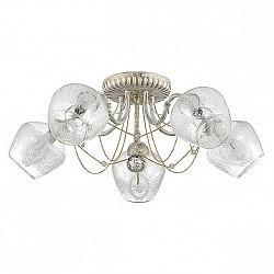 Потолочная люстра Lumion5 или 6 ламп<br>Артикул - LMN_3124_5C,Бренд - Lumion (Италия),Коллекция - Irena,Гарантия, месяцы - 24,Высота, мм - 210,Диаметр, мм - 610,Размер упаковки, мм - 320x200x300,Тип лампы - компактная люминесцентная [КЛЛ] ИЛИнакаливания ИЛИсветодиодная [LED],Общее кол-во ламп - 5,Напряжение питания лампы, В - 220,Максимальная мощность лампы, Вт - 40,Лампы в комплекте - отсутствуют,Цвет плафонов и подвесок - неокрашенный с белым рисунком,Тип поверхности плафонов - матовый, прозрачный,Материал плафонов и подвесок - стекло, хрусталь,Цвет арматуры - белый с золотой патиной,Тип поверхности арматуры - матовый,Материал арматуры - металл,Возможность подлючения диммера - можно, если установить лампу накаливания,Тип цоколя лампы - E14,Класс электробезопасности - I,Общая мощность, Вт - 200,Степень пылевлагозащиты, IP - 20,Диапазон рабочих температур - комнатная температура,Дополнительные параметры - способ крепления к потолку - на монтажной пластине<br>