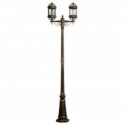 Фонарный столб MW-LightФонарные столбы<br>Артикул - MW_816040602,Бренд - MW-Light (Германия),Коллекция - Плимут,Гарантия, месяцы - 24,Высота, мм - 2280,Тип лампы - компактная люминесцентная [КЛЛ] ИЛИнакаливания ИЛИсветодиодная [LED],Общее кол-во ламп - 2,Напряжение питания лампы, В - 220,Максимальная мощность лампы, Вт - 95,Лампы в комплекте - отсутствуют,Цвет плафонов и подвесок - неокрашенный,Тип поверхности плафонов - прозрачный,Материал плафонов и подвесок - стекло,Цвет арматуры - черный с золотой патиной,Тип поверхности арматуры - глянцевый,Материал арматуры - металл,Тип цоколя лампы - E27,Класс электробезопасности - II,Общая мощность, Вт - 190,Степень пылевлагозащиты, IP - 44,Диапазон рабочих температур - от -40^C до +40^C<br>