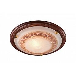 Накладной светильник SonexКруглые<br>Артикул - SN_317,Бренд - Sonex (Россия),Коллекция - Filo,Гарантия, месяцы - 24,Диаметр, мм - 560,Тип лампы - компактная люминесцентная [КЛЛ] ИЛИнакаливания ИЛИсветодиодная [LED],Общее кол-во ламп - 3,Напряжение питания лампы, В - 220,Максимальная мощность лампы, Вт - 100,Лампы в комплекте - отсутствуют,Цвет плафонов и подвесок - белый с коричневым орнаментом,Тип поверхности плафонов - матовый,Материал плафонов и подвесок - стекло,Цвет арматуры - золото, темный орех,Тип поверхности арматуры - глянцевый,Материал арматуры - дерево, металл,Возможность подлючения диммера - можно, если установить лампу накаливания,Тип цоколя лампы - E27,Класс электробезопасности - I,Общая мощность, Вт - 300,Степень пылевлагозащиты, IP - 20,Диапазон рабочих температур - комнатная температура<br>