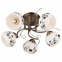 Люстра на штанге Eurosvet5 или 6 ламп<br>Артикул - EV_70133,Бренд - Eurosvet (Китай),Коллекция - 9647,Гарантия, месяцы - 24,Высота, мм - 220,Диаметр, мм - 460,Тип лампы - компактная люминесцентная [КЛЛ] ИЛИнакаливания ИЛИсветодиодная [LED],Общее кол-во ламп - 5,Напряжение питания лампы, В - 220,Максимальная мощность лампы, Вт - 60,Лампы в комплекте - отсутствуют,Цвет плафонов и подвесок - белый с рисунком,Тип поверхности плафонов - матовый,Материал плафонов и подвесок - стекло,Цвет арматуры - бронза античная,Тип поверхности арматуры - матовый,Материал арматуры - металл,Возможность подлючения диммера - можно, если установить лампу накаливания,Тип цоколя лампы - E27,Класс электробезопасности - I,Общая мощность, Вт - 300,Степень пылевлагозащиты, IP - 20,Диапазон рабочих температур - комнатная температура,Дополнительные параметры - способ крепления светильника к потолку - на монтажной пластине<br>