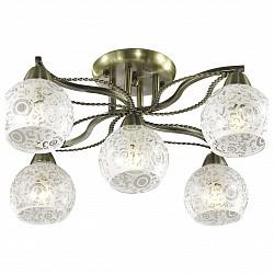Потолочная люстра Odeon Light5 или 6 ламп<br>Артикул - OD_2942_5C,Бренд - Odeon Light (Италия),Коллекция - Girona,Гарантия, месяцы - 24,Высота, мм - 270,Диаметр, мм - 580,Тип лампы - компактная люминесцентная [КЛЛ] ИЛИнакаливания ИЛИсветодиодная [LED],Общее кол-во ламп - 5,Напряжение питания лампы, В - 220,Максимальная мощность лампы, Вт - 60,Лампы в комплекте - отсутствуют,Цвет плафонов и подвесок - неокрашенный с рисунком,Тип поверхности плафонов - матовый, прозрачный,Материал плафонов и подвесок - стекло,Цвет арматуры - бронза,Тип поверхности арматуры - сатин,Материал арматуры - металл,Возможность подлючения диммера - можно, если установить лампу накаливания,Тип цоколя лампы - E14,Класс электробезопасности - I,Общая мощность, Вт - 300,Степень пылевлагозащиты, IP - 20,Диапазон рабочих температур - комнатная температура,Дополнительные параметры - способ крепления светильника на потолке - на монтажной пластине<br>